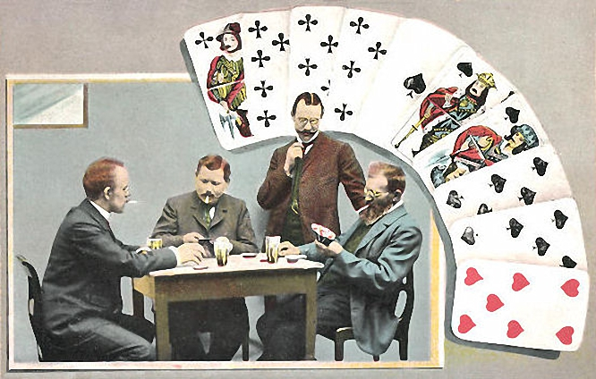 Skatspieler mit französischem Blatt