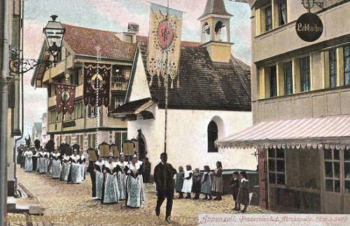 Appenzell, Prozession b.d. Abtskapelle