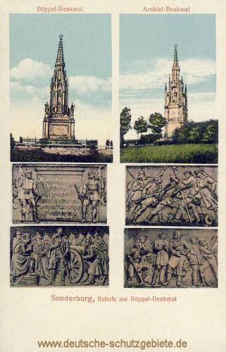 Düppel-Denkmal, Arnkiel-Denkmal und Reliefs am Düppeldenkmal