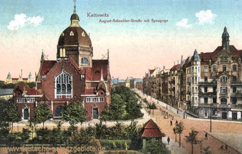 Kattowitz, August-Schneider-Straße mit Synagoge