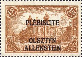 Allenstein, Plebiscite 1920, Briefmarke Deutsches Reich 1,50 Mark