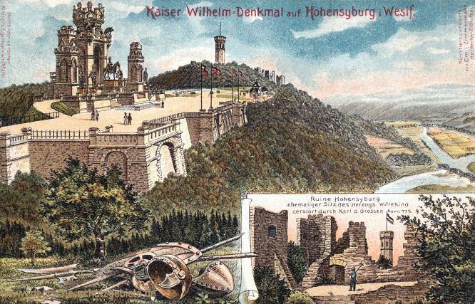 Kaiser Wilhelm-Denkmal auf Hohensyburg in Westfalen - Ruine Hohensyburg, ehemaliger Sitz des Hezogs Wittekind, zerstört durch Karl den Großen Anno 775