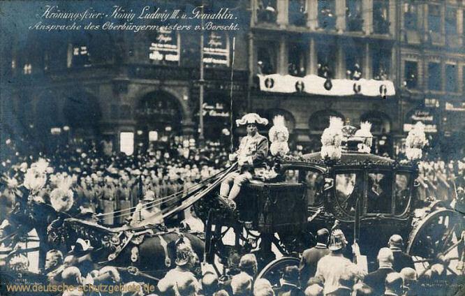Krönungsfeier: König Ludwig III. und Gemahlin. Ansprache des Oberbürgermeisters von Borscht