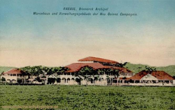 Rabaul, Bismarck Archipel, Warenhaus und Verwaltungsgebäude der Neu Guinea Compagnie
