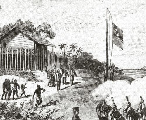 Kamerun, Reichskommissar Gustav Nachtigal lässt die deutsche Flagge hissen.