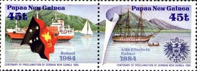100 Jahre Proklamation von Deutsch-Neuguinea, Rabaul und S.M.S. Elisabeth, Sondermarke Papua-Neuguinea 1984