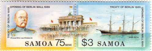 Samoa, das Land mit deutscher Kolonialvergangenheit, würdigt mit einer Sondermarke den Fall der Berliner Mauer 1989 - Motiv das deutsche Kanonenboot S.M.S. Adler 1889