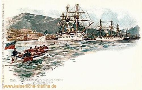 S.M.S. Charlotte und S.M.S. Stein klar zum Gefecht in Port au Prince