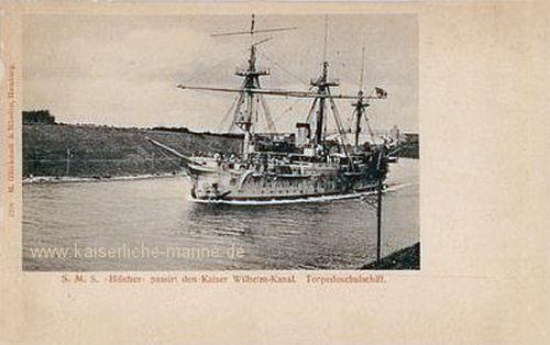 S.M.S. Blücher passiert den Kaiser Wilhelm-Kanal - Torpedoschulschiff