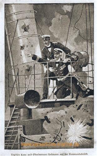 Kapitän Lans und Oberleutnant Hellmann auf der Kommandobrücke