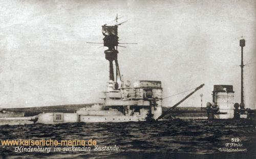 S.M.S. Hindenburg im sinkenden Zustand