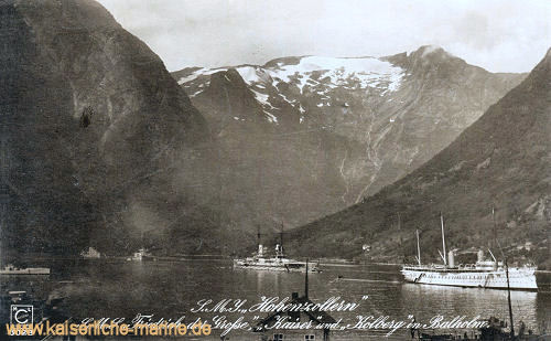 S.M.S. Hohenzollern, Friedrich der Große, Kaiser und Kolberg in Balholm (Norwegen)