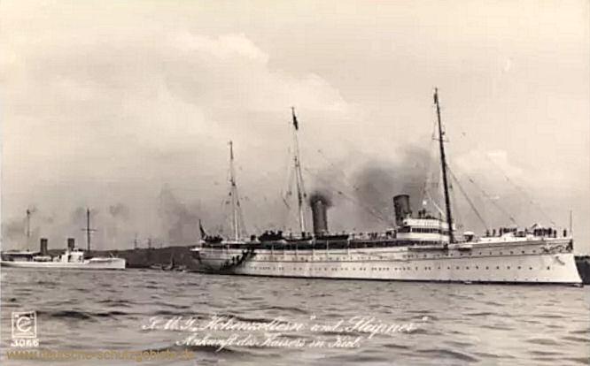 S.M.S. Hohenzollern und Sleipner. Ankunft des Kaisers in Kiel