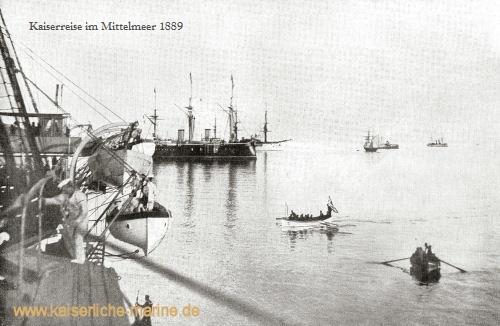 Kaiserreise im Mittelmeer 1889 v.l.n.r.: S.M.S. Kaiser, S.M.S. Deutschland, S.M.S. Leipzig, S.M.S. Jagd und S.M.S. Blitz auf der Reede von Korfu