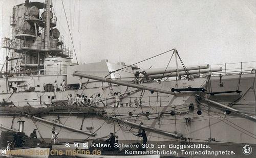 S.M.S. Kaiser, Schwere 30,5 cm Buggeschütze, Kommandobrücke, Torpedofangnetze