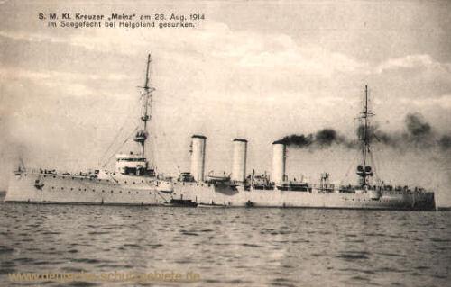 S.M. Kleiner Kreuzer Mainz am 28. August 1914 im Seegefecht bei Helgoland gesunken.