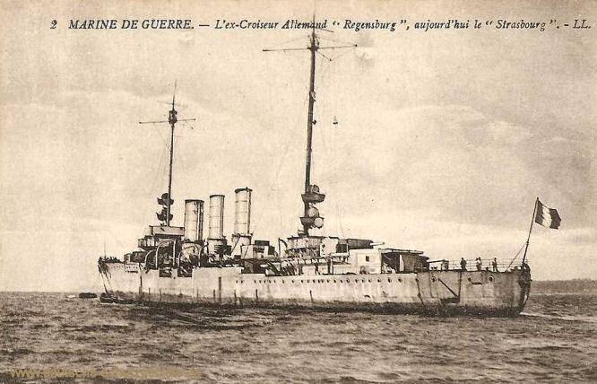 """Französische Kriegsmarine, ehemalige Kreuzer Regensburg, heutige """"Strasbourg"""""""