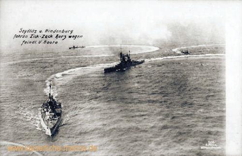S.M.S. Seydlitz und Hindenburg fahren Zick-Zack Kurs wegen feindlicher U-Boote