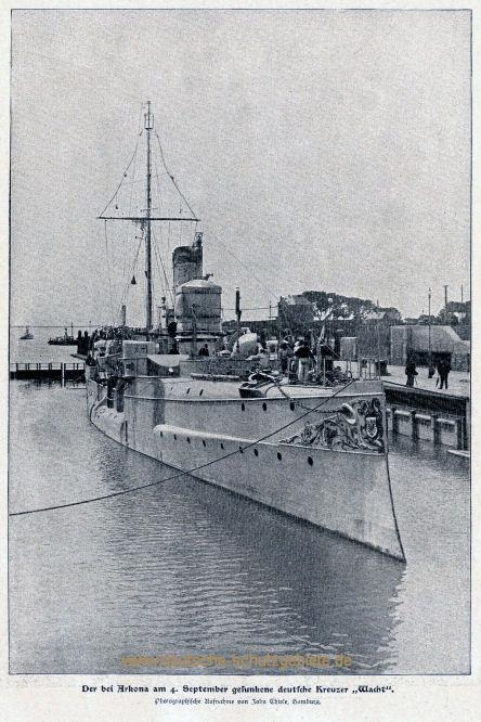Der bei Arkona am 4. September gesunkene deutsche Kreuzer Wacht