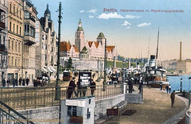 Stettin, Hakenstraße mit Regierungsgebäude