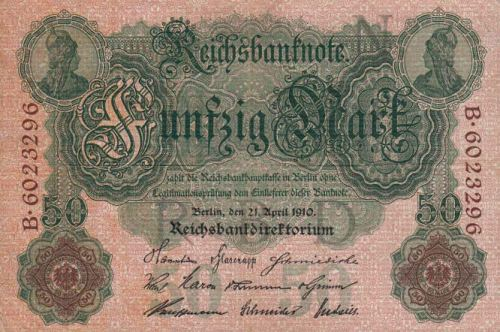 Reichsbanknote 50 Mark 21.04.1910 Vorderseite