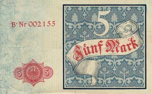 Reichskassenschein 5 Mark 10.01.1882 Rückseite