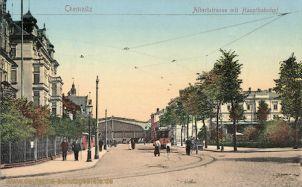 Chemnitz, Albertstraße mit Hauptbahnhof