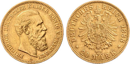 Deutsches Reich 20 Mark 1888 (Preußen)