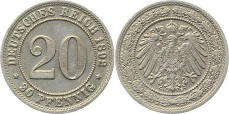 Deutsches Reich 20 Pfennig 1892