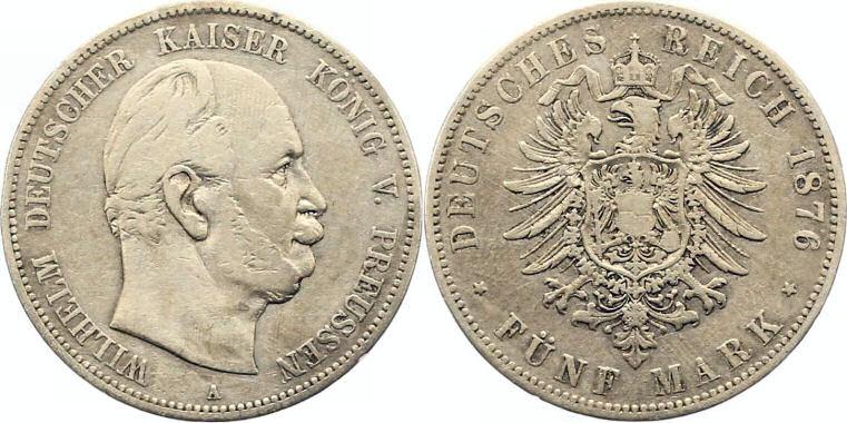 Deutsches Reich 5 Mark 1876 (Preußen)