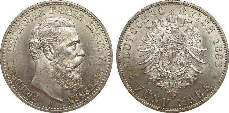Deutsches Reich 5 Mark 1888 (Preußen)