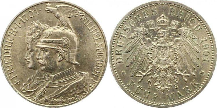 Deutsches Reich 5 Mark 1901 (Preußen)