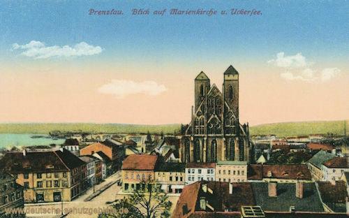 Prenzlau, Blick auf Marienkirche und Uckersee