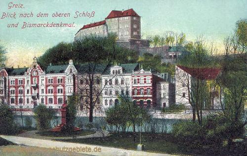 Greiz, oberes Schloss und Bismarckdenkmal
