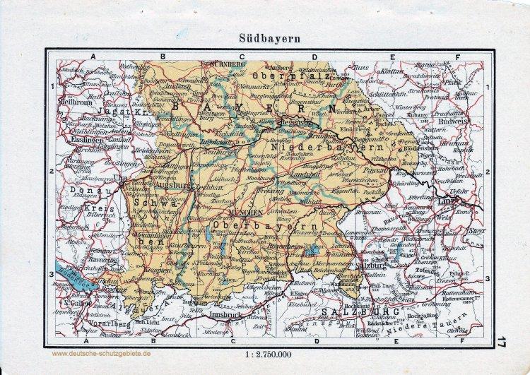 Landkarte Süd-Bayern