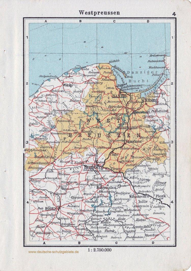 Landkarte Westpreussen