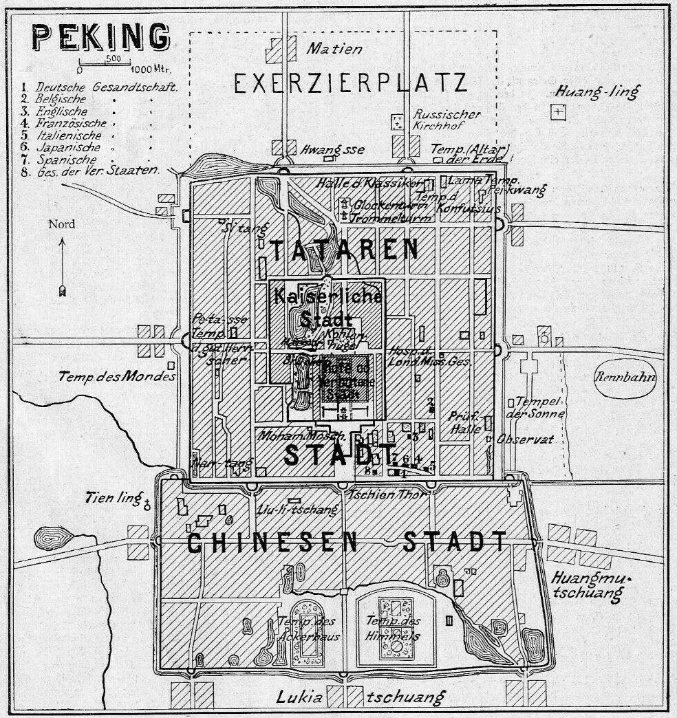 Übersichtsplan der chinesischen Hauptstadt Peking mit Angabe der Lage der fremden Gesandtschaften.
