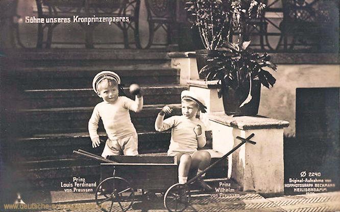 Die Söhne unseres Kronprinzenpaares: Prinz Louis Ferdinand und Prinz Wilhelm von Preußen