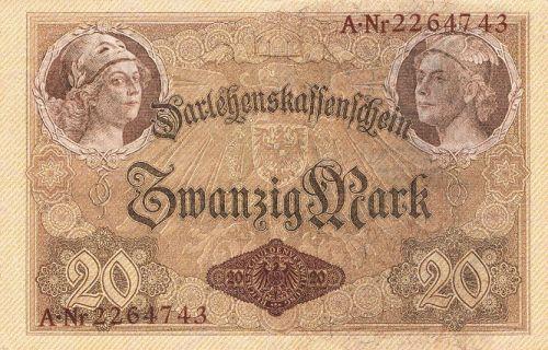Darlehenskassenschein 20 Mark 05.08.1914 Rückseite