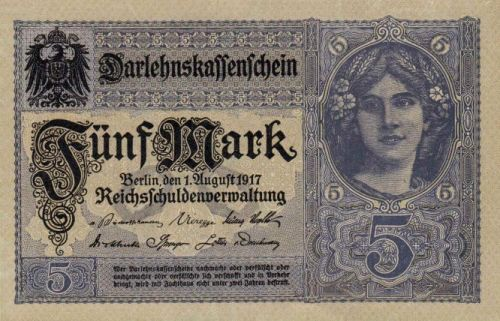 Darlehenskassenschein 5 Mark 01.08.1917 Vorderseite