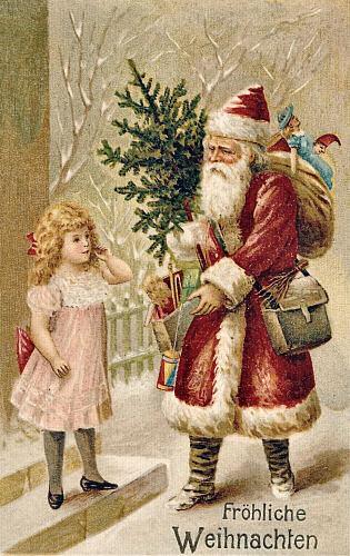 Fröhliche Weihnachten, der rot gekleidete Weihnachtsmann in einer Darstellung von 1903