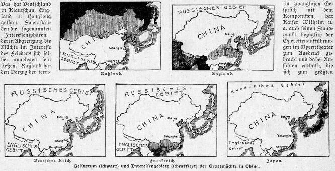 Die Interessengebiete der Großmächte in China um das Jahr 1900