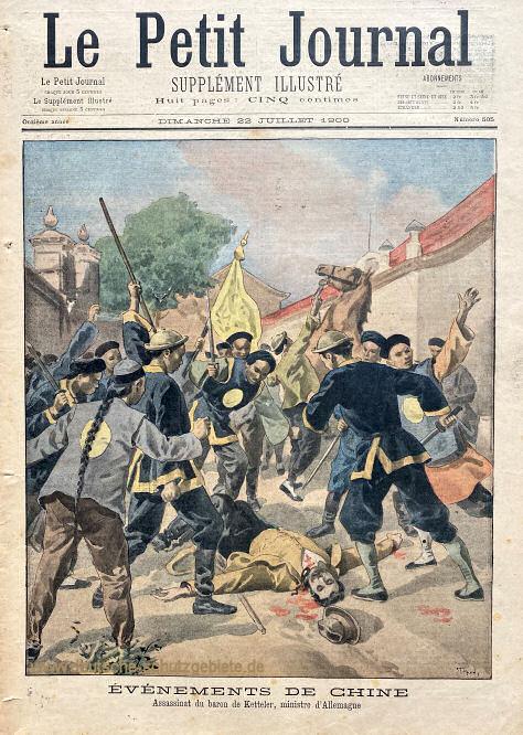 Le Petit Journal vom 22. Juli 1900: Die Ermordung des deutschen Botschafters Freiherr von Ketteler in Peking