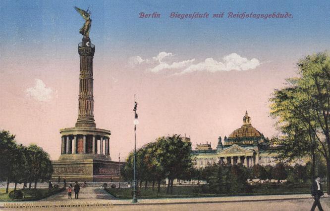 Berlin, Siegessäule mit Reichstagsgebäude