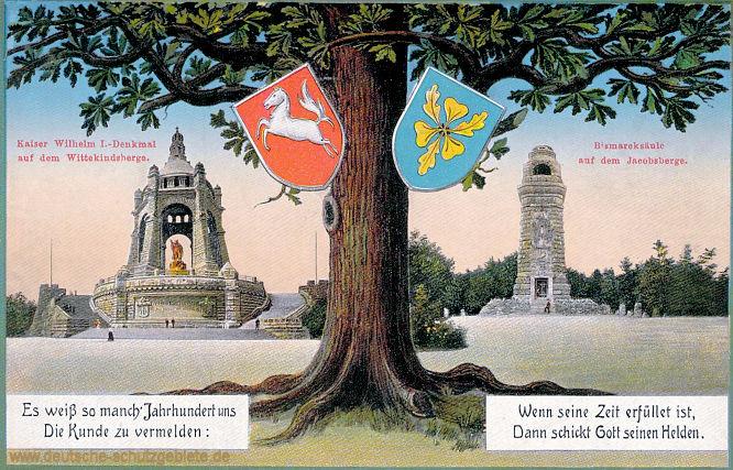 Kaiser Wilhelm I-Denkmal auf dem Wittekindsberge - Bismarcksäule auf dem Jacobsberge
