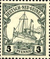"""Deutsch-Neu-Guinea Nr. 20, """"3"""" auf 5 Pfennig (Replikat)"""