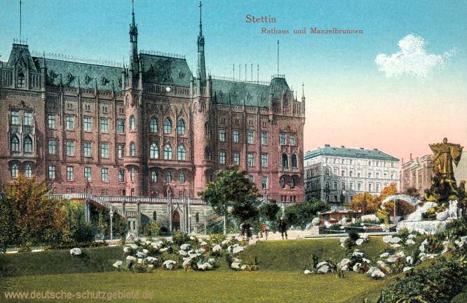 Stettin, Rathaus und Manzelbrunnen
