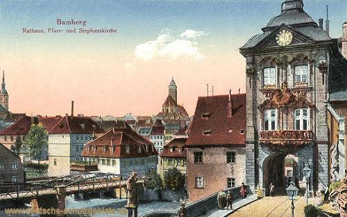 Bamberg, Rathaus, Pfarr- und Stephanskirche