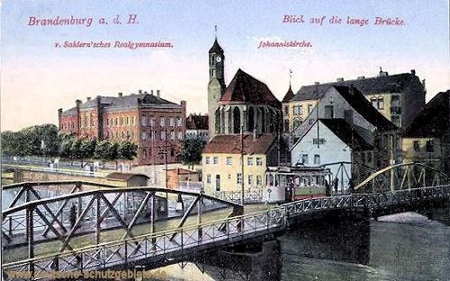 Brandenburg a.H., Lange Brücke, Realgymnasium, Johanniskirche