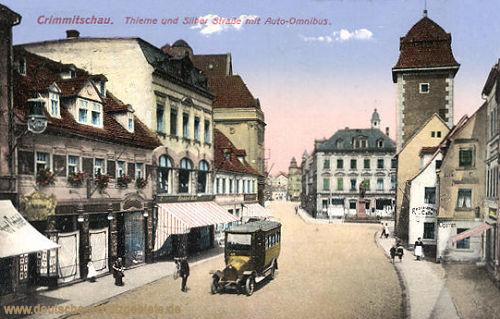 Crimmitschau, Thieme- und Silber-Straße mit Auto-Omnibus